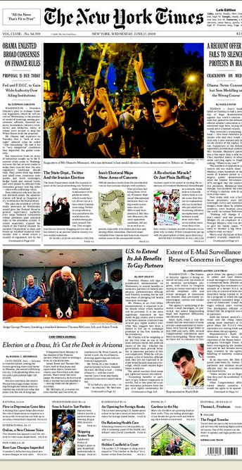 La une du New York Times :