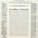 """La dernière """"une"""", le 27 février dernier : est-ce internet qui a tué le Rocky Mountain News ?"""